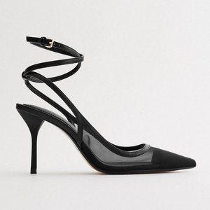 NWT Zara Blogger Favorite Ankle Strap Mesh Heels 8